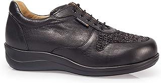 Orthopedische damesschoen, merk Calzamedi, stijgbreedte: 14, leer, kleur: zwart, metallic, veters, uitneembare binnenzool ...