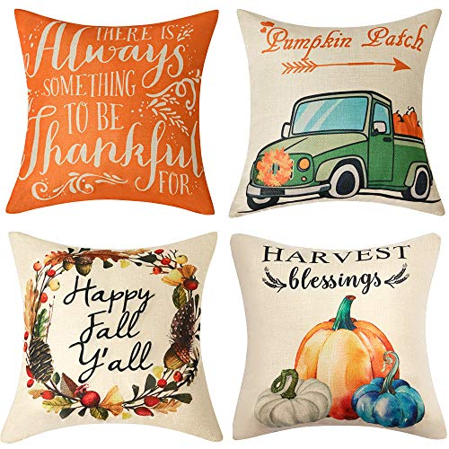 Anickal Thanksgiving Fall Pillow Covers 18x18 Inch Set of 4 for Fall Decor Harvest Blessings Pumpkin Patch Fall Autumn Farmhouse Decorative Throw Pillow Covers for Sofa Couch Home Decoration