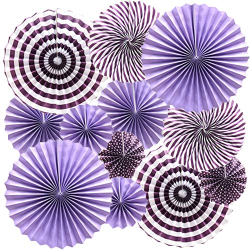 Cdycam Hanging Paper Fans Lavender Purple Party Decorations, Round Pattern Paper Garlands for Baby Shower/Party/Wedding/Birthday/Festival/Christmas/Event and Home Decor, Set of 12