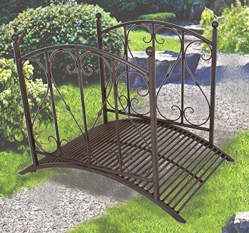 Gartenbrücke mit Geländer, Metall, Rost-Optik, 4-teilig
