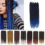 Box Braids Crochet Hair Extension Ombre Pre Braided Box Braids Pre Looped Box Braiding Hair Synthetic 24 Strands/Pack 3X Jumbo Braiding Crochet Hair 24In (7 Packs,Black To Blue )