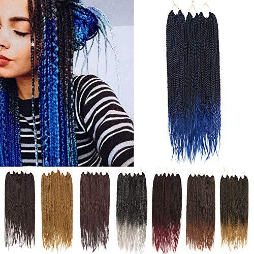 Box Braids Crochet Hair Extension Ombre Pre Braided Box Braids Pre Looped Box Braiding Hair Synthetic 24 Strands/Pack 3X Jumbo Braiding Crochet Hair 24In (7 Packs,Black To Blue)