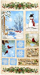 Timeless Treasures Beige Memories 24in Winter Scenic Flannel Panel Fabric