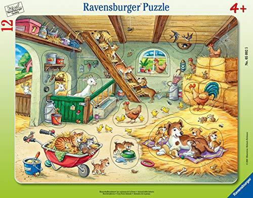 Ravensburger 05092 Bauernhofbewohner Kinderpuzzle 05092-Bauernhofbewohner-12 Teile Rahmenpuzzles, Orange