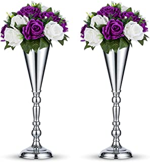 Nuptio 2 Pcs Tabletop Silver Metal Wedding Flower Trumpet Vase Table Decorative Centerpiece Artificial Flower Arrangements for Anniversary Ceremony Party Birthday Event Aisle Home Decoration