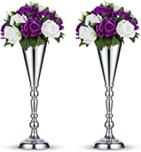 Nuptio 2 Pcs Tabletop Silver Metal Wedding Flower Trumpet Vase Table Decorative Centerpiece Artificial Flower Arrangements for Anniversary Ceremony Party Birthday Event Aisle Home Decoration