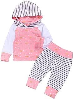 SERAIALDA 2pcs Toddler Baby Boys Girls Long Sleeve Hoodie Sweatshirt Tops Sweatsuit Pants Outfit Clothing Set