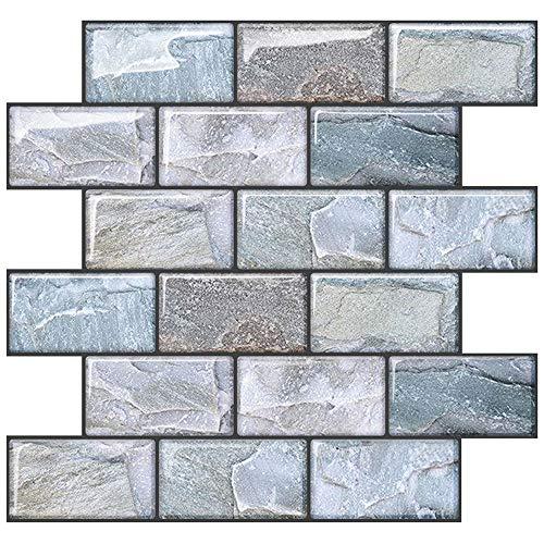 "Uoisaiko 10 Sheets Peel and Stick Tile Backsplash for Kitchen Wall Tile, Self Adhesive Brick Backsplash Subway Tile Backsplash, Stick on Tiles Kitchen Backsplash 10""x10.6"""