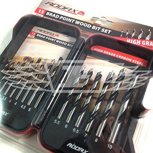 Addax 15 Piece Brad Point Wood Drill BIT Set 3mm 3.5mm 4mm 4.5mm 5mm 5.5mm 6mm 6.5mm 7mm 8mm 10mm (AK4)