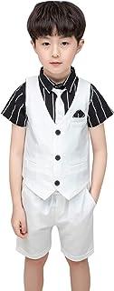 [Y-BOA] 子供 男の子 フォーマル スーツ 半袖シャツ ベスト ショートパンツ ネクタイ 4点セット 紳士服 タキシード 七五三 結婚式 発表会