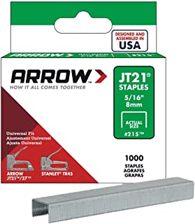 Arrow Fastener 215 Genuine JT21/T27 5/16-Inch Staples, 1,000-Pack