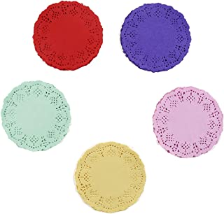 100 Pieces Assorted Colors Floral Round Paper Doilies for Cakes, Desserts, Baked Treat Display, Ideal for Weddings, Formal Event Decoration, Tableware Decor Placemats 4.5 Inches in Diameter