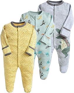 Minizone Baby Schlafstrampler 3er Pack Unisex Pyjamas Baumwolle Overalls Strampler mit 6-9 Monate