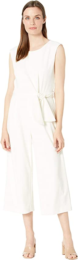 Side Tie Stretch Crepe Jumpsuit with Self Sash
