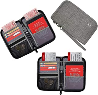 HOPAI Travel Passport Wallet, Family Passport Holder RFID Blocking Passport Wallet Ticket and Cash Holder Document Organizer with Removable Strap, Passport Pouch for Men & Women