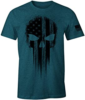 USA Military American Flag Black Skull Patriotic Men's T Shirt