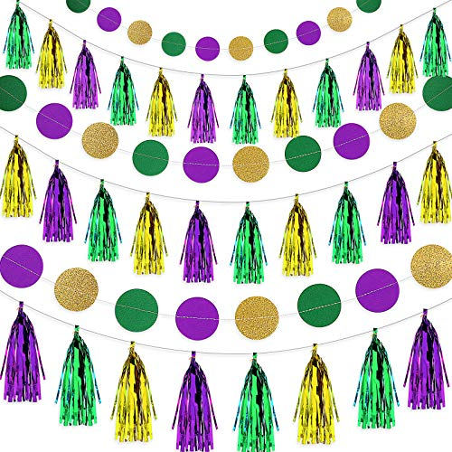 35 Pieces Mardi Gras Decoration Set Include 5 Packs Gold Purple Green Circle Dots Banner and 30 Pieces Mardi Gras Tassel Garland DIY Tassels for Fat Tuesday, Mardi Gras, Baby Shower, Birthday