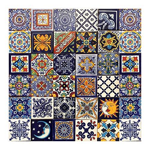 Cerames Piastrelle Decorate Messicane Horacio | 30 piezzi 10,5x10,5 cm | Mattonelle Fatte a Mano Talavera | Specchio da Parete Cucina, Bagno, WC | Azulejos, Maiolica