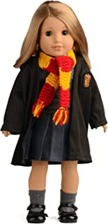 sweet dolly Hermione Clothes Shoes Magic Outfits Witchcraft School Uniform Doll Clothes for 18 inch American Girl Doll (Clothes and Shoes) (Clothes, Shoes, Scarf)