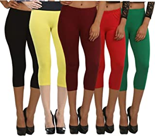 Fablab Capris for Girls_Ladies_Womens_Cotton_Lycra_3/4 th Pant (Capri_CLS_190-5-11BYMRG,Free Size,BlackYellowMaroonRedGreen).