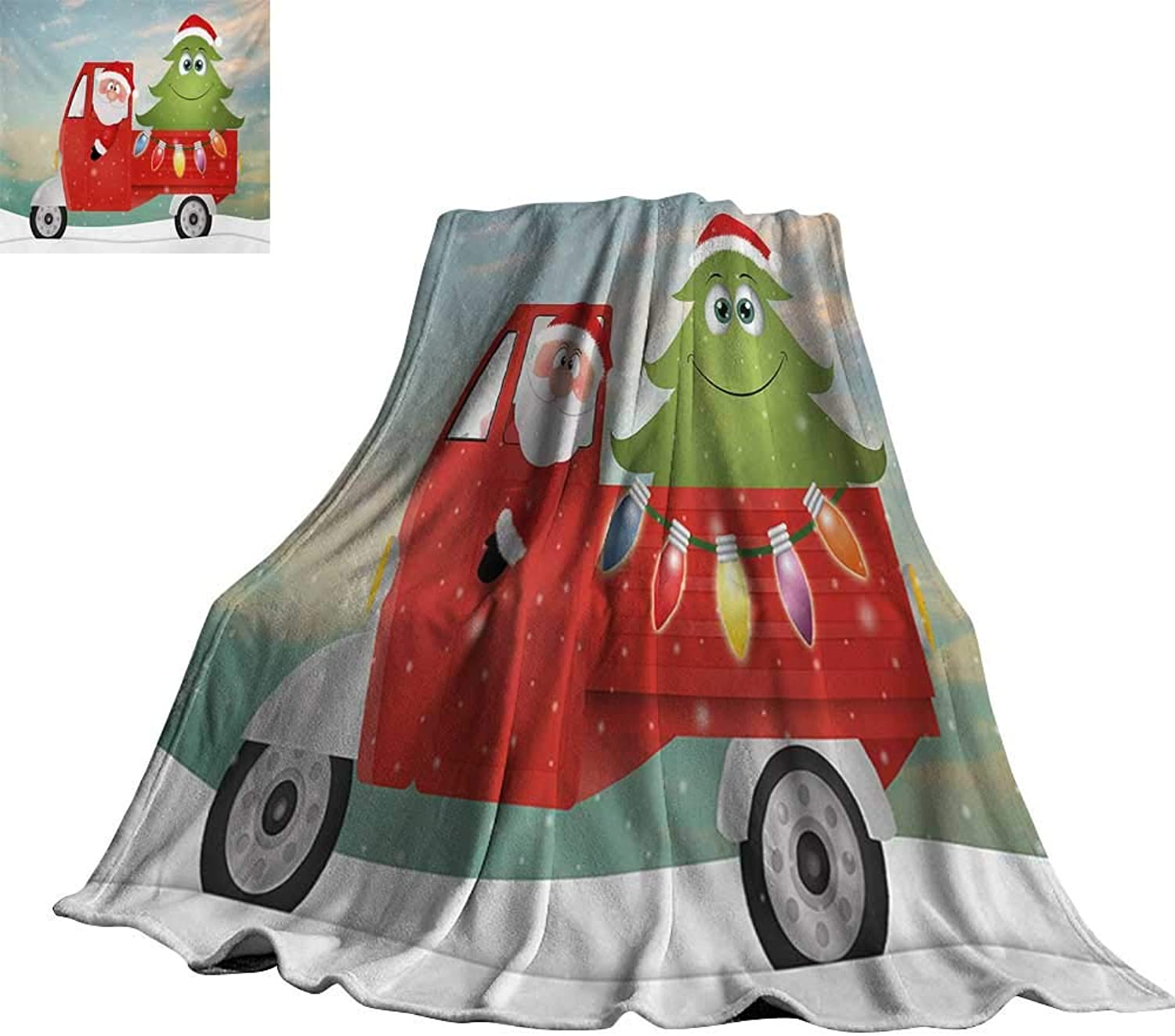 Christmas,Blankets Santa in Red Vintage Truck with Fun Cartoon Xmas Tree and colorful Fairy Art Print Comfortable and Warm Beach Blanket 70 x50