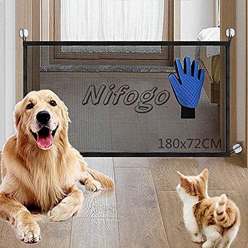 Nifogo Portatile Cani Barriera di Sicurezza, Magic Gate for Dog Estensibile Pet Safety Enclosure Net, Retrattile Animali Cancello Staccionate Auto Barriera, nero180 x 72 cm