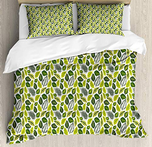 Philodendron Super King Bedding Duvet Cover 3 Piece, Tropical Vivid Tone Leaves Illustration Soft Bedding Set with 1 Comforter Cover 2 Pillowcase, Yellow Green Olive Green Pastel Yellow Sage Green