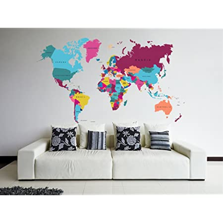 World Map Flowers Wall Decal Fauna Floral Style Vinyl Sticker Office Home Room Interior Decoration Waterproof High Quality Mural 242xx