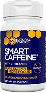 Natural Stacks Smart Caffeine Supplement 60ct - Instant Energy and Focus for Life School & Work - No Jitters and No Crash ...