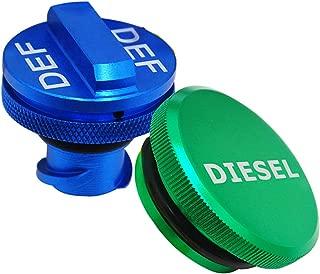 Billet Aluminum Fuel Cap Combo Pack,Diesel Fuel Cap for Dodge - Magnetic Green Diesel Fuel Cap and Non-magnetic Blue DEF Cap for 2013-2018 Dodge Ram Diesel Trucks 1500 2500 3500
