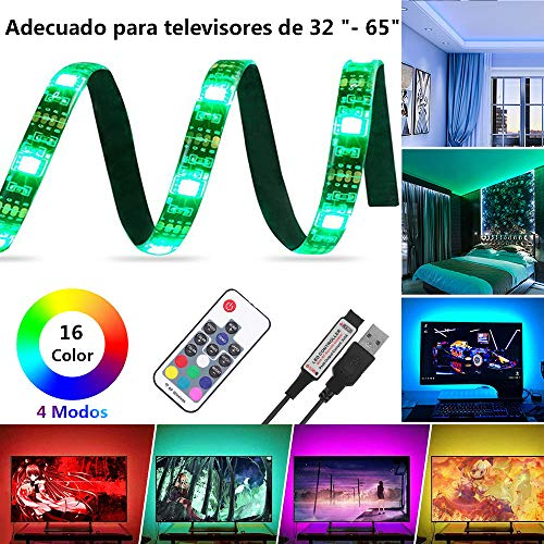 Tiras LED Iluminación, Lemonmax 200CM 5050 SMD RGB IP65 a prueba de agua Luz de Fondo de TV USB, 16 Color Luces LED habitacion para TV PC Laptop con Control Remoto