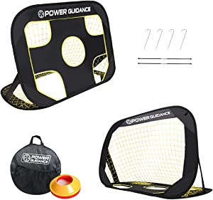 POWER GUIDANCE Soccer Goal Portable Soccer Goal Net Set - 2 in 1, with 10 Agility Training Cones, Pop Up Training Soccer Goals for Backyard Perfect for Kids and Adults Soccer Practice with Carry Case