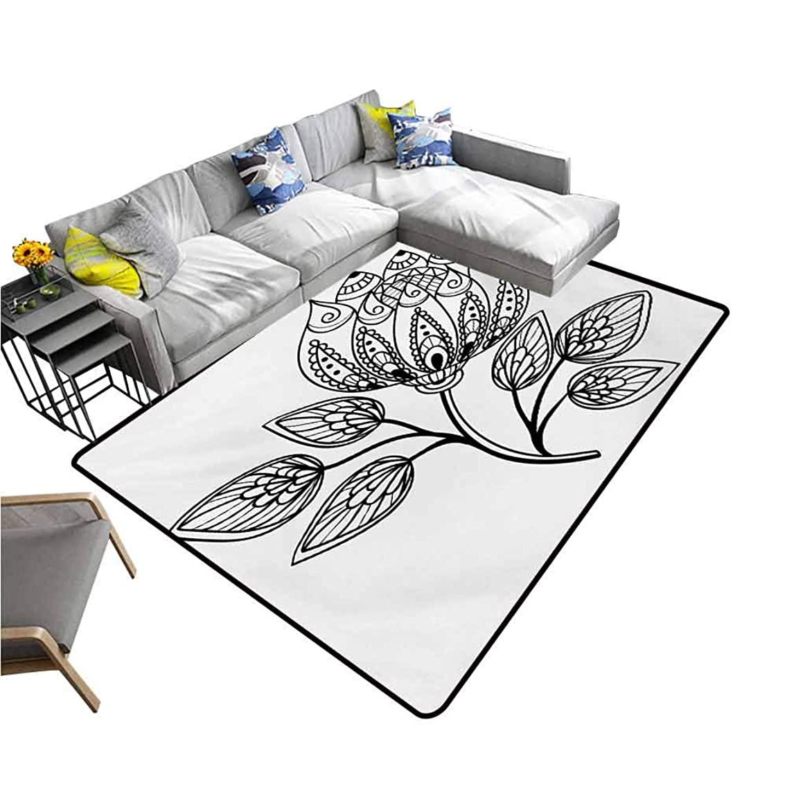 Front Mat Home Decorative Carpet Colorful Henna,Hand Drawn Monochrome Floral Pattern with Ornamental Petals and Leaves Swirls Curves,Black White 60