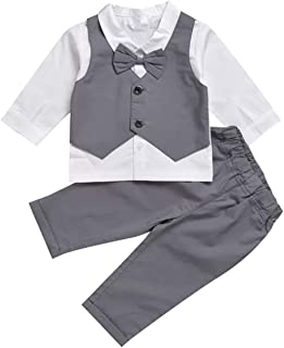 Gubabycci Infant Toddler Baby Boy Gentleman 2pcs Long Sleeves Formal Party Wedding Suits Outfits