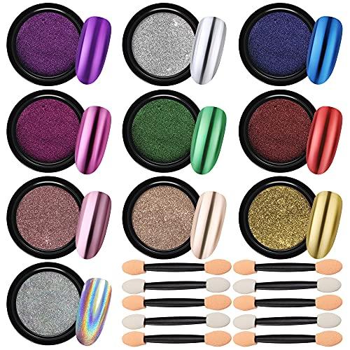 JEMESI Polvos para Uñas, 10 Colors Polvos para Uñas Efecto Espejo Uñas Metálicas en Polvo Cromo en Polvo para Uñas con 10 Piezas Palos de Sombra de Ojos, 2g/Cajas