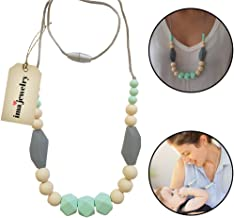 ima-jewelry BPA Free Silicone Teething Necklace for Mom to Wear | Chew Beads - Safe for Baby | Green
