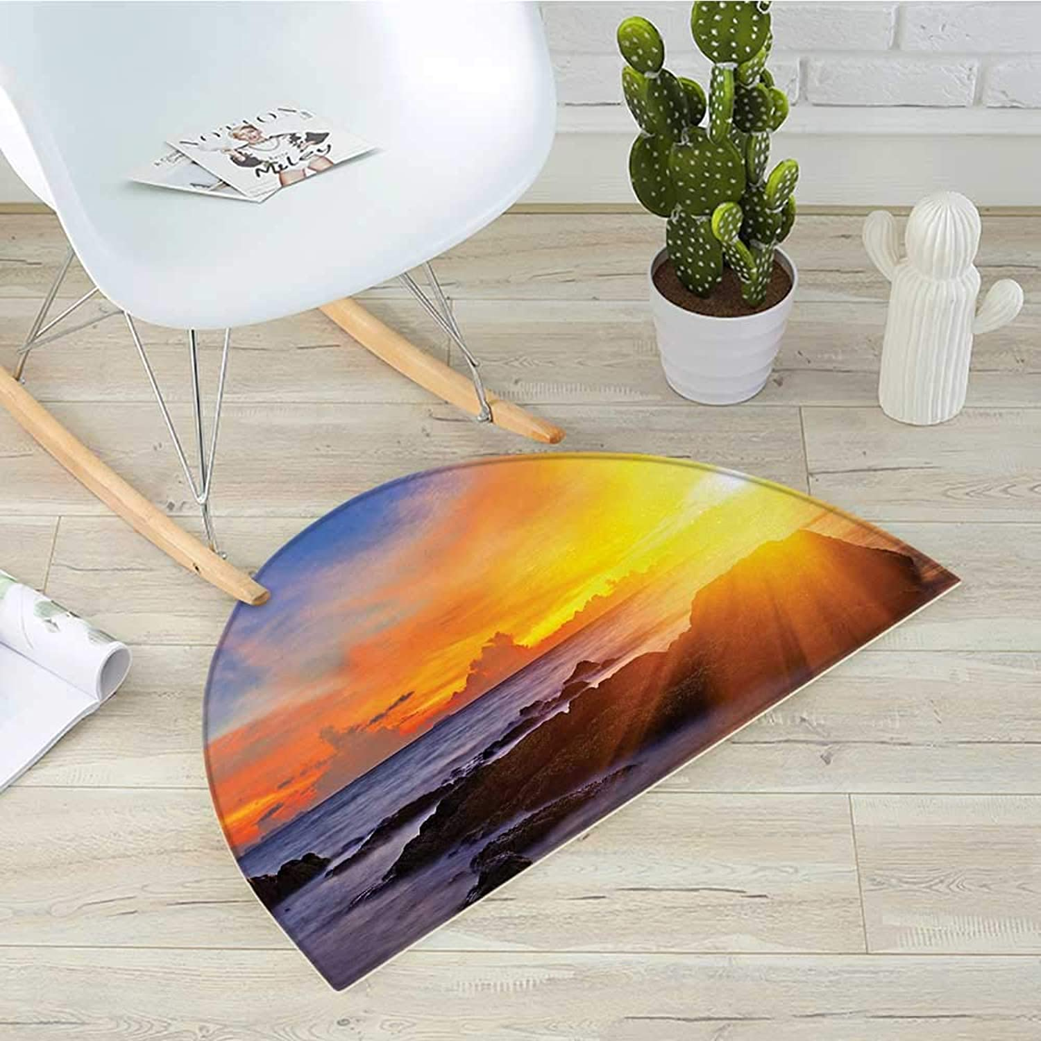 Beach Semicircle Doormat colorful Sunset with Light Romance in The Sky at Tropic Beach Fantasy Landscape Halfmoon doormats H 39.3  xD 59  orange bluee