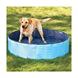 N&M Products Foldable Dog Pool - Folding Dog/Cat Bath Tub - Collapsible Pet Spa (Large (50'x 12'), Red)