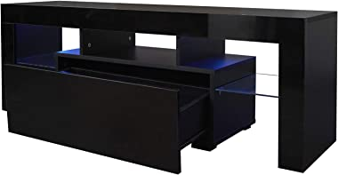 Modern TV Stand, Black Glossy TV Stand with 12 Colors LED Light, 55-inch Television Stand Media Storage Console Cabinet with
