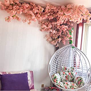 XNNSH Gorgeous Artificial Cherry Blossom Trees Pink Fake Sakura Flower Indoor Outdoor Home Office (10FT/3m)