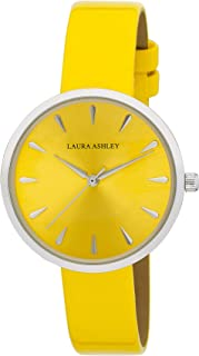 Laura Ashley Womens LA31087YL Silver Round Case with Yellow Strap Watch