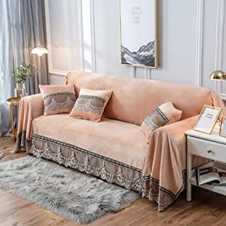 JYPHM Plush Couch Cover Vintage lace Suede Sofa Slipcover Anti-Slip Solid Color Sofa Cover Anti-Dust Stain-Proof Furniture Protector for Pet Dog & Kids 3 Seaters Camel 200x300cm(79x118inch)