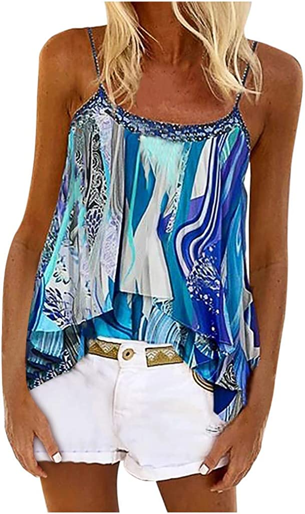 Tank Tops for Women Plus Size,Casual Summer Boho Floral Spaghetti Strap V Neck Tank Top Summer Sleeveless Cami Shirts