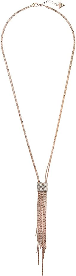 GUESS - Matte Metal Y Necklace with Pave and Chain Fringe