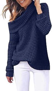Suéter de Punto de Hombro Abierto para Mujer Blusa de Cuello Alto Casual de Manga Larga Color sólido Tops Outwear cálida c...