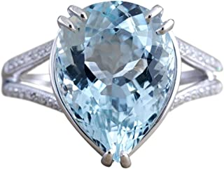 winsopee Fashion Ring for Women Diamond Promise Ring Engagement Aquamarine Dripping Ring Engagement Gifts for