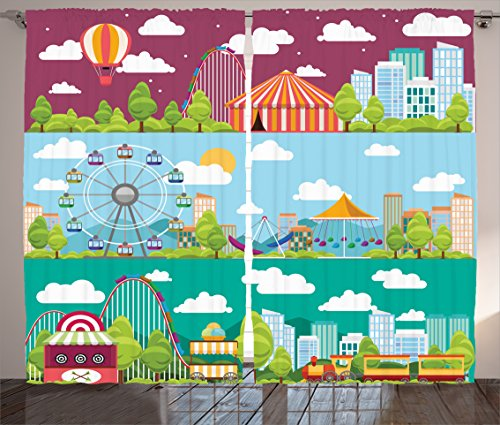 Ambesonne Circus Decor Curtains, Conceptual City Banners with Carousels Slides and Swings Ferris Wheel Attraction, Window Treatments for Kids Girls Boys Bedroom 2 Panels Set, 108X84 Inches