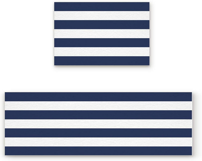 Libaoge Non-Skid Slip Rubber Backing Kitchen Mat Runner Area Rug Doormat Set, Navy White Stripes Carpet Indoor Floor Mats Door 2 Packs, 19.7 x31.5 +19.7 x47.2