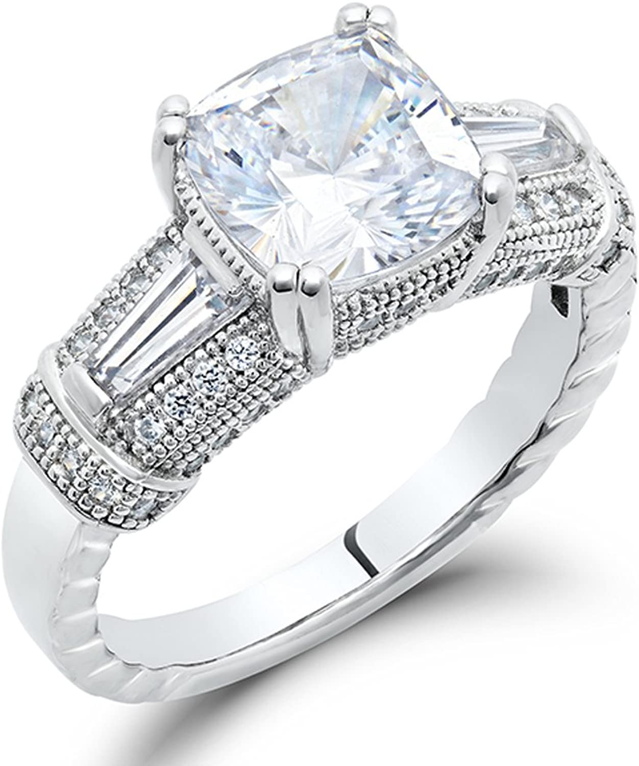 Cushion Cut Ladies Engagement Signity CZ Ring Sterling Silver (8)