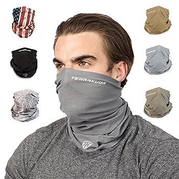Terra Kuda Face Clothing Neck Gaiter Mask – Non Slip Light Breathable for Sun Wind Dust Bandana Balaclava  Wolf Grey